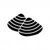あさり貝の白黒シルエットイラスト