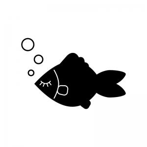 眠っている魚の白黒シルエットイラスト