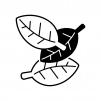 3枚の葉っぱの白黒シルエットイラスト