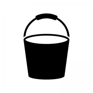 バケツの白黒シルエットイラスト