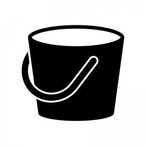 バケツの白黒シルエットイラスト02