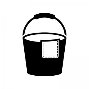 バケツと雑巾の白黒シルエットイラスト