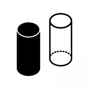 円柱の白黒シルエットイラスト