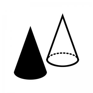 円錐の白黒シルエットイラスト