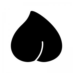 桃の白黒シルエットイラスト