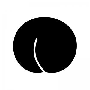 桃の白黒シルエットイラスト02