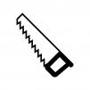ハンドソーのノコギリの白黒シルエットイラスト