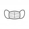 機能的なマスクの白黒シルエットイラスト