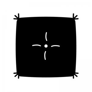 座布団の白黒シルエットイラスト