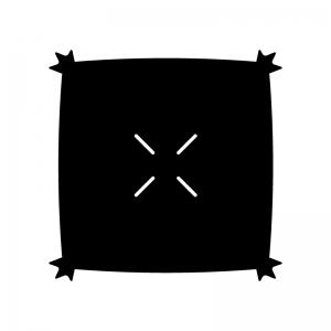 座布団の白黒シルエットイラスト02
