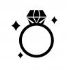 輝いているダイヤの指輪の白黒シルエットイラスト