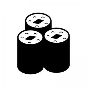 海苔巻きの白黒シルエットイラスト