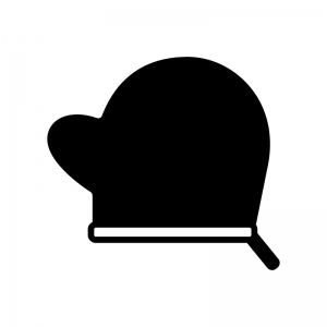 鍋つかみ・ミトンの白黒シルエットイラスト02