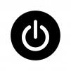 白抜きの電源マークの白黒シルエットイラスト