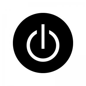 白抜きの電源マークの白黒シルエットイラスト02