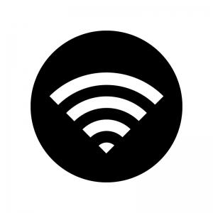 白抜きのWi-Fiマークの白黒シルエットイラスト02