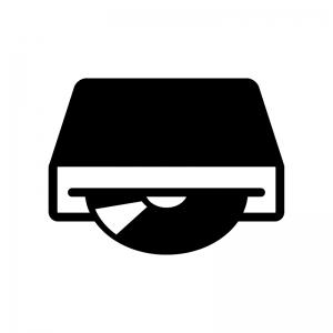 ディスクドライブの白黒シルエットイラスト