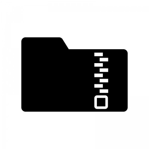圧縮・ZIPフォルダの白黒シルエットイラスト