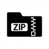 圧縮・ZIPフォルダの白黒シルエットイラスト02