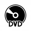 DVDアイコンの白黒シルエットイラスト
