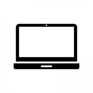 ノートパソコンの白黒シルエットイラスト02