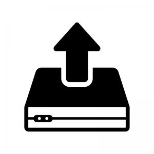 HDDとアップロードの白黒シルエットイラスト