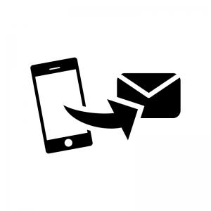 スマホからメール送信の白黒シルエットイラスト