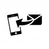 スマホへメール送信の白黒シルエットイラスト02