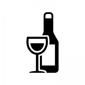 ワインボトルとグラスの白黒シルエットイラスト