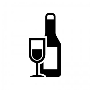 ワインボトルとグラスの白黒シルエットイラスト02