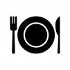 お皿付きの食事マークの白黒シルエットイラスト