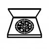 宅配ピザの白黒シルエットイラスト