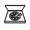 宅配ピザの白黒シルエットイラスト02