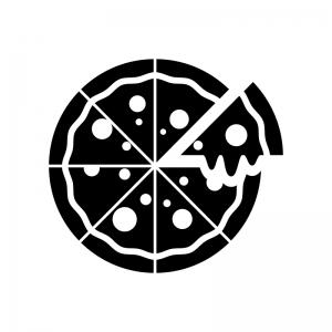 とろ~りピザの白黒シルエットイラスト