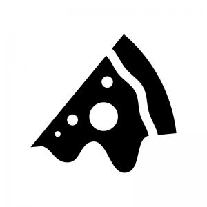 とろ~りピザの白黒シルエットイラスト02