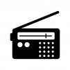 ラジオの白黒シルエットイラスト