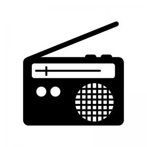 ラジオの白黒シルエットイラスト02