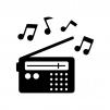 ラジオと音符の白黒シルエットイラスト