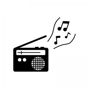 ラジオからメロディが流れている白黒シルエットイラスト