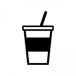 カップドリンクの白黒シルエットイラスト