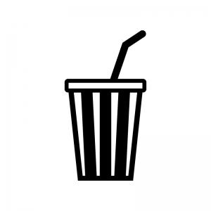 カップドリンクの白黒シルエットイラスト02