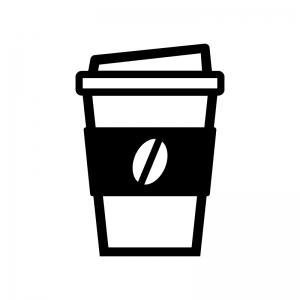テイクアウトコーヒーの白黒シルエットイラスト