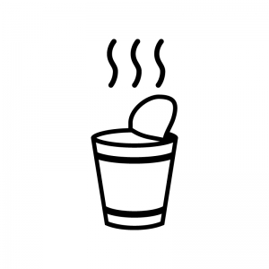 カップラーメンの白黒シルエットイラスト