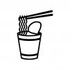 カップラーメンの白黒シルエットイラスト02