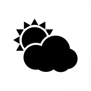 天気の太陽と雲の白黒シルエットイラスト