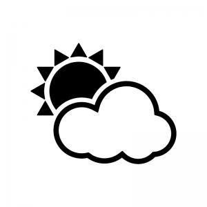 天気の太陽と雲の白黒シルエットイラスト02