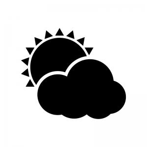 天気・晴れのち曇りの白黒シルエットイラスト