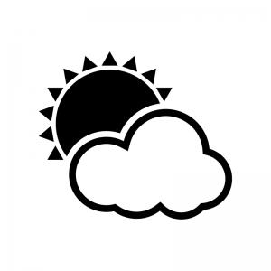 天気・晴れのち曇りの白黒シルエットイラスト02