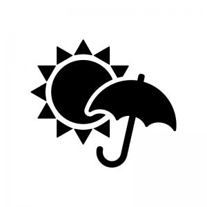 天気の晴れと雨の白黒シルエットイラスト