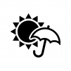 天気の晴れと雨の白黒シルエットイラスト02